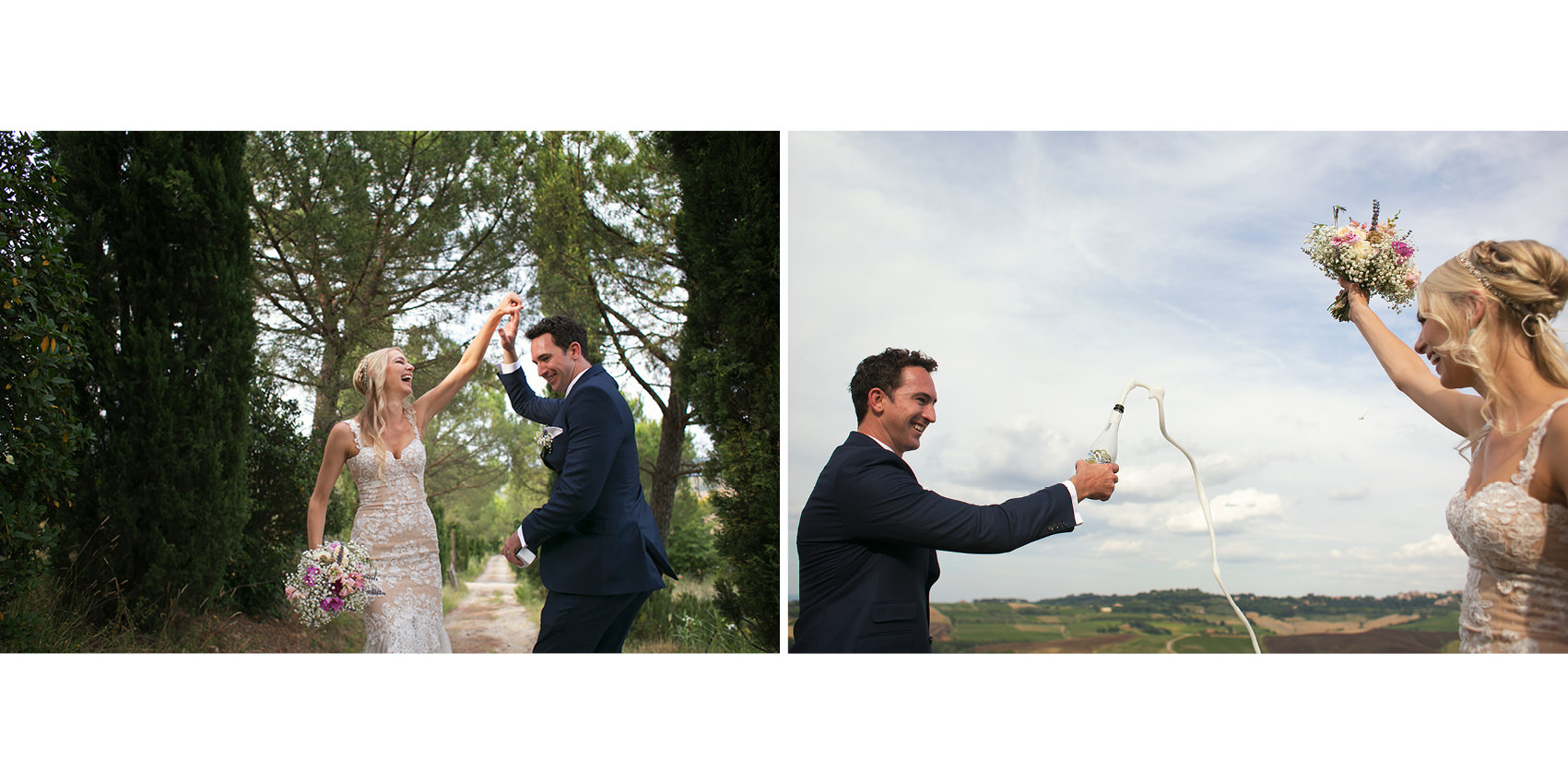 romantic elopement in tuscany hills